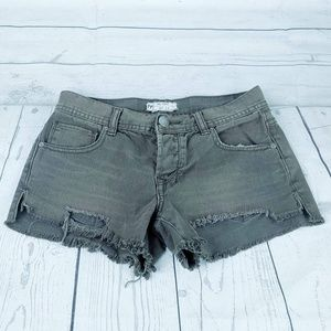 Free People Green Button Fly Cutoff Shorts Sz 25